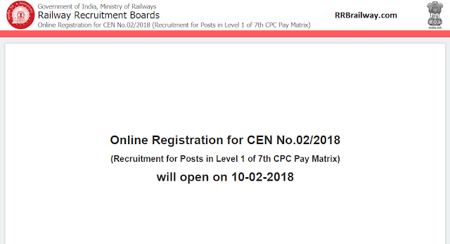 Railway RRB/RRC Group D Recruitment Notification (62907 Posts) CEN: 02/2018 PDF Download