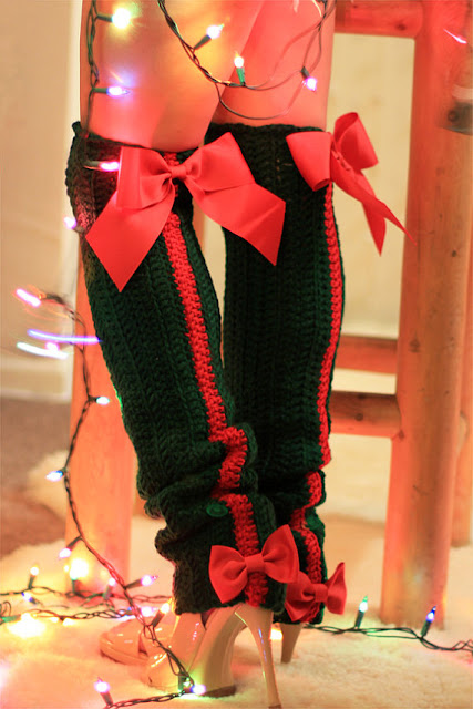 Red and Green Holiday Leg Warmers by Mademoiselle Mermaid