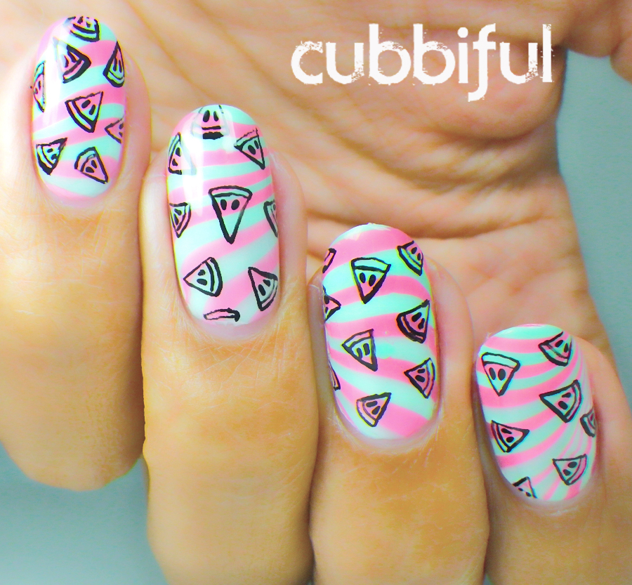 watermelong watermarble nails