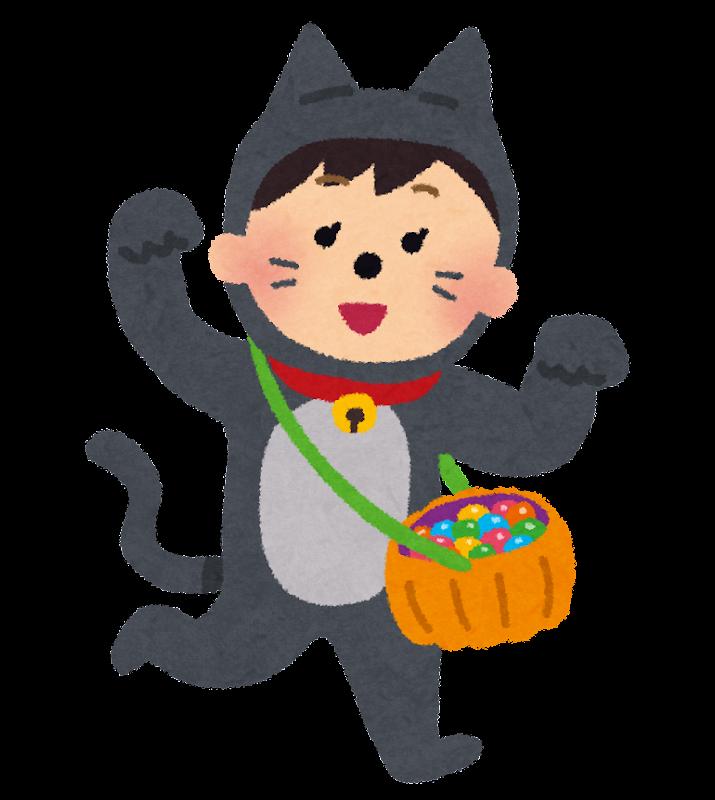ハロウィンの仮装のイラスト猫の変装をした女の子 かわいいフリー