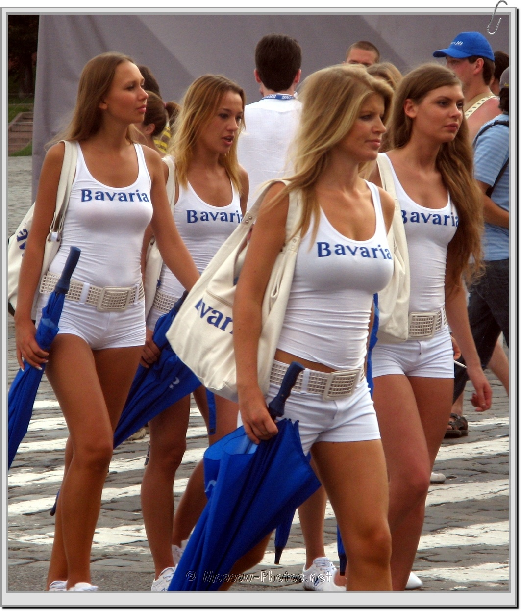 Models In White Summer Suits at Bavaria Moscow City Racing 2008