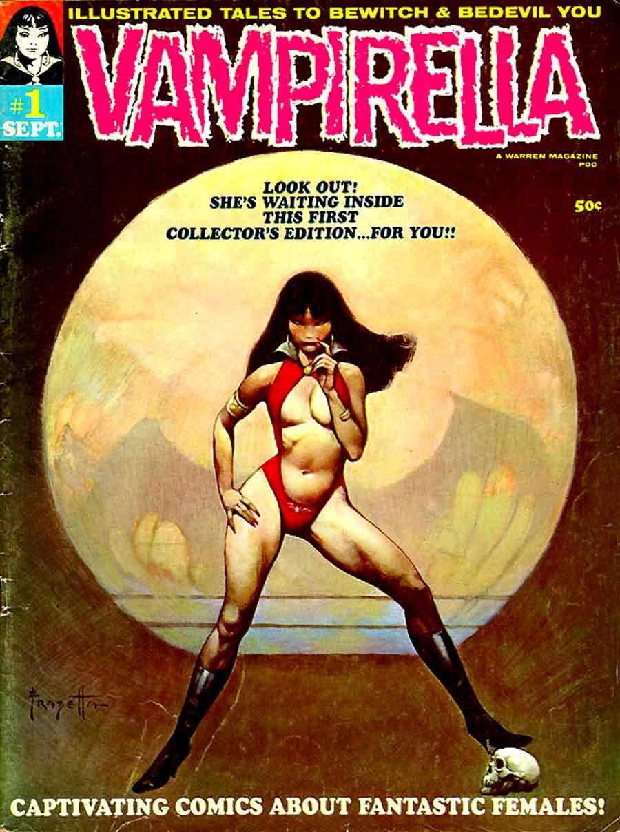 Vampirella v1 #1 warren magazine cover art by Frank Frazetta