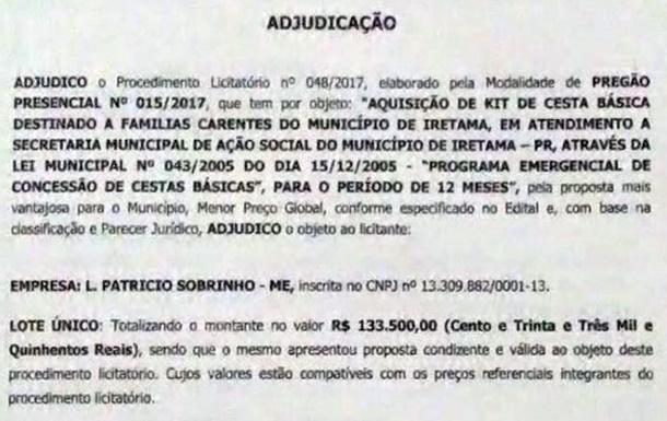 Iretama: Casa de Carnes União fornecerá R$ 133 mil em cestas básicas para a Prefeitura