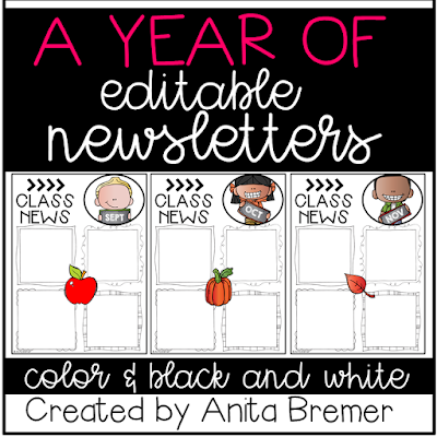 This pack includes 12 different editable class newsletters to share class news. Simply type over the text where it says 'text' to add your class news, reminders, birthdays, homework, and more. You can change the font, font size, and color to whatever you like! #classroomsetup #classnews #newslettertemplate #newsletter #classroom #backtoschool