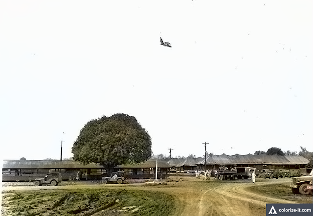 Entrance to the 237th Station of Base R, 1945.  Image source:  United States National Archives.  Colorized courtesy of Algorithmia.