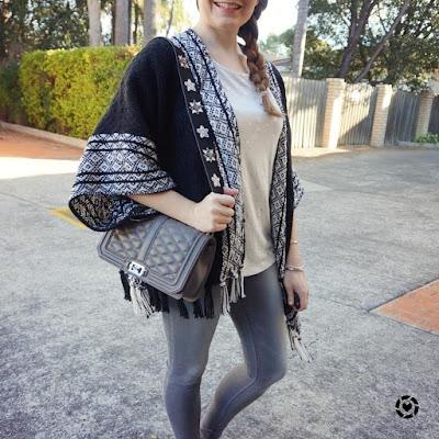 awayfromblue instagram monochrome outfit Rebecca Minkoff ruana poncho kimono skinny jeans tee Love bag