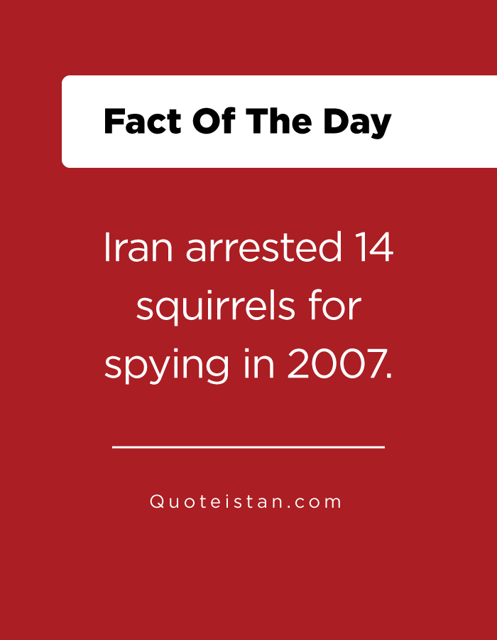 Iran arrested 14 squirrels for spying in 2007.