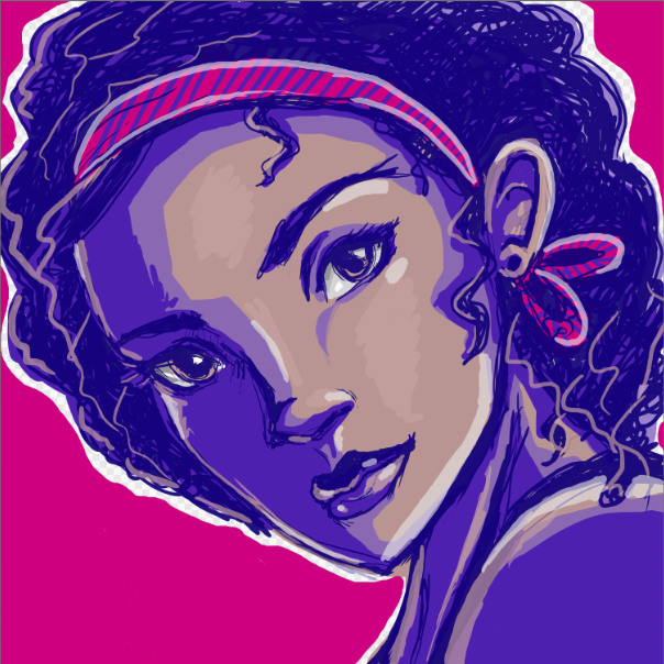FireAlpaca Black Girl with Curly Hair Portrait