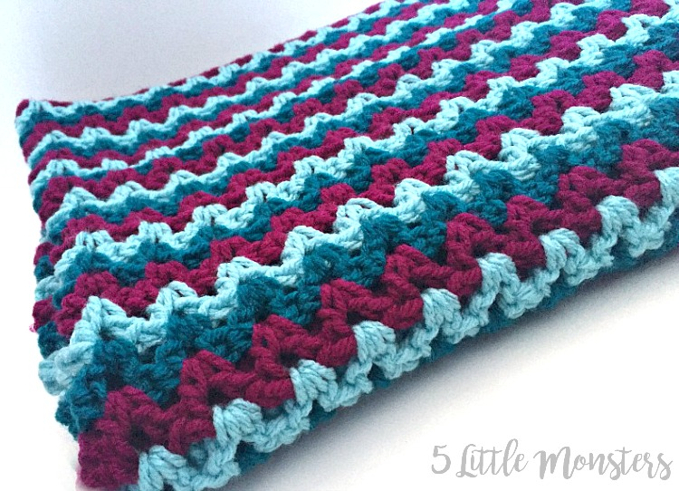 5 Little Monsters  Easy V-Stitch Baby Blanket 6909a15a3c0