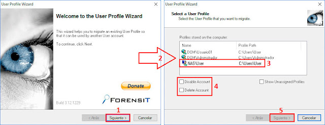 User Profile Wizard 3.12 de ForensIT - Seleccionar Usuario Local.