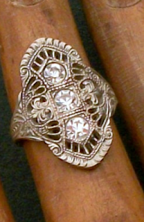 Vintage Art Deco Ring. Filigree with Brilliants: $80, antique