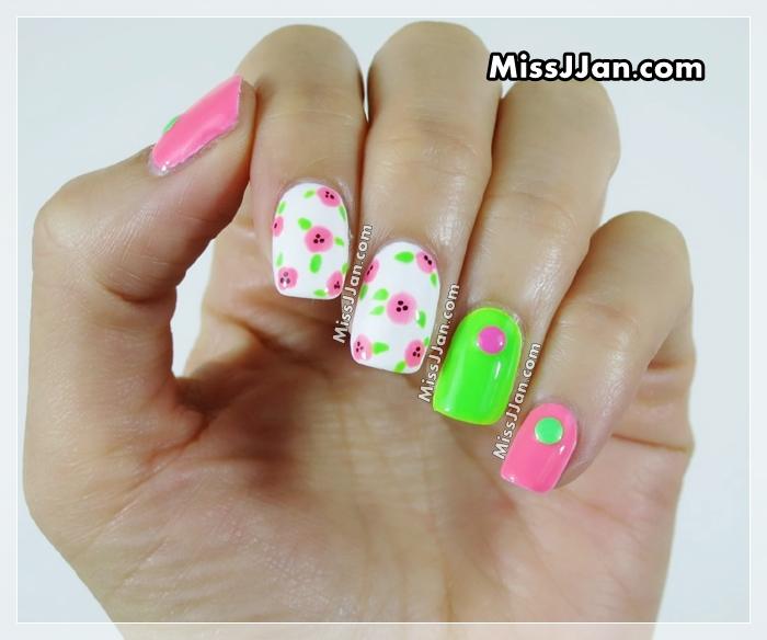 MissJJan's Beauty Blog ♥: VERY EASY Neon Flowers Nails (No