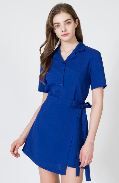 Short Sleeve Shirt Wrap Dress