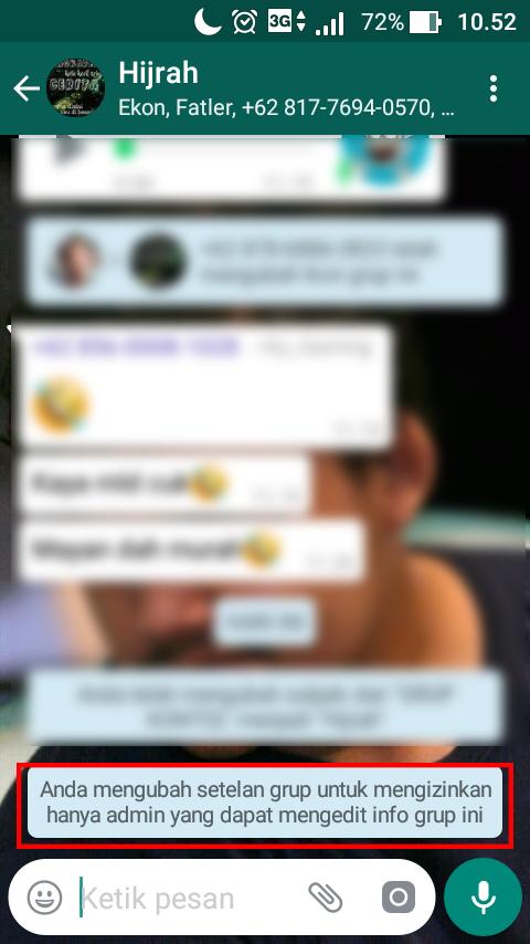 Cara setting Info Grup WhatsApp Hanya untuk Admin Saja