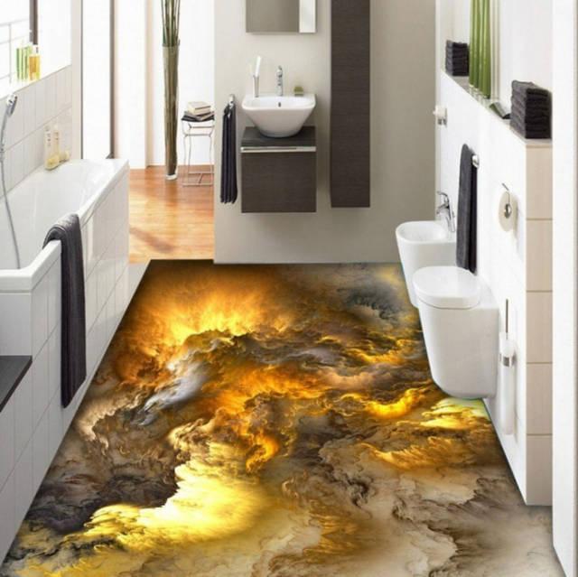 lantai tiga dimensi desain kamar mandi atau toilet tema bara api