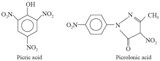 picric acid and picrolonic acid