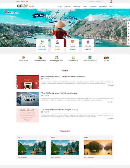Chia sẻ template blogspot review du lịch và bán tour