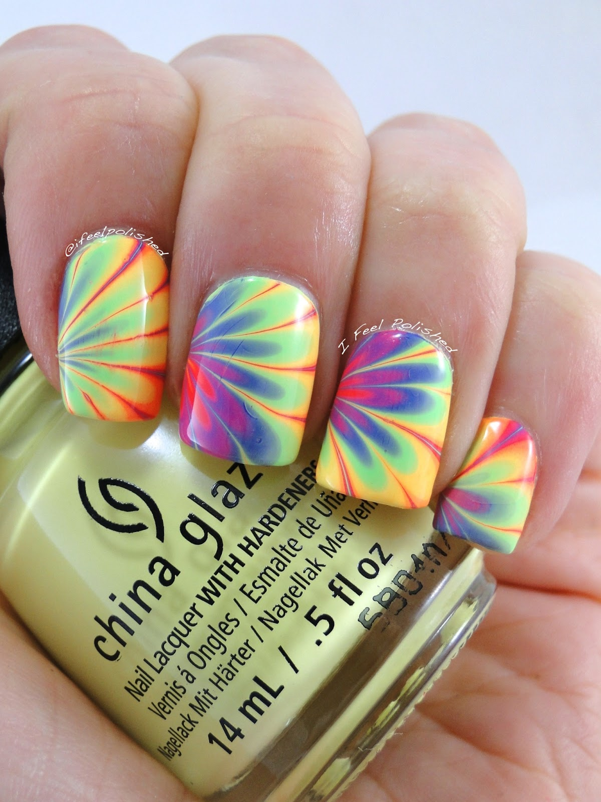 I feel polished neon rainbow water marble china glaze lite brites water marble prinsesfo Image collections