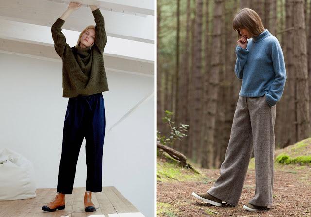 Зеленый короткий свитер оверсайз с синими брюками