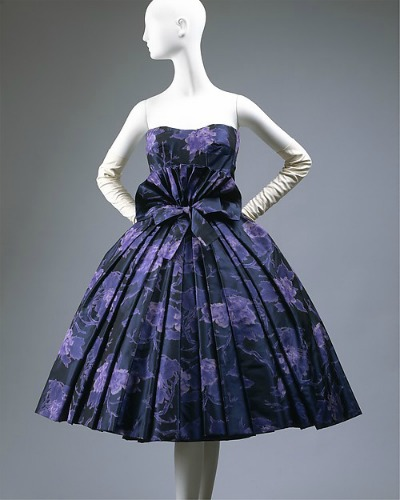 "Midnight blue print short full skirted cocktail dress by House of Dior ""Eventail"" 1956-1957"