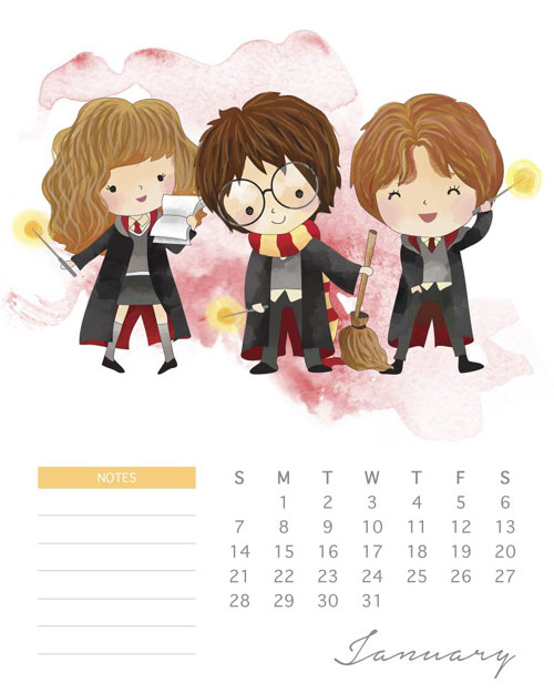 Free 2018 Harry Potter Calendar And Planner