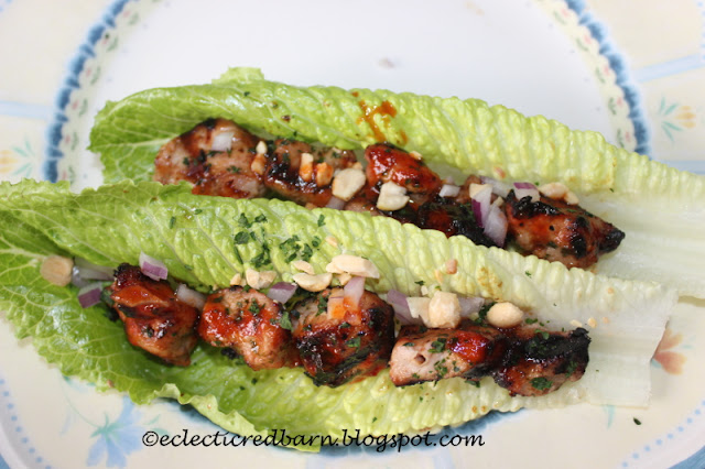 Eclectic Red Barn: Make a marinade for the pork; grill and then add roasted peanuts, cilantro, cucumbers and scallions.Wrap in lettuce leaves.