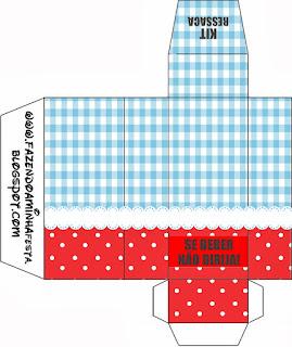 Cuadros Celestes, Rojo y Lunares Blancos: Cajas para Imprimir Gratis.