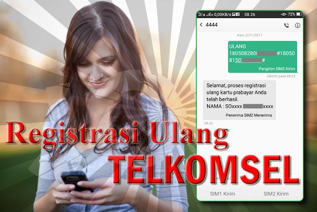 Cara Registrasi Ulang Kartu Telkomsel Sesuai Kebijakan Pemerintah Dengan KK dan nomor KTP