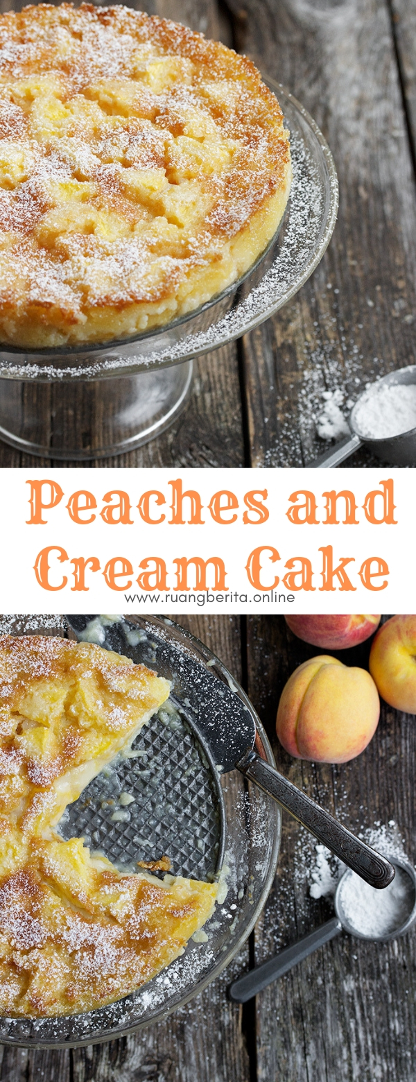 Peaches and Cream Cake #dessert #peaches #cream #cake