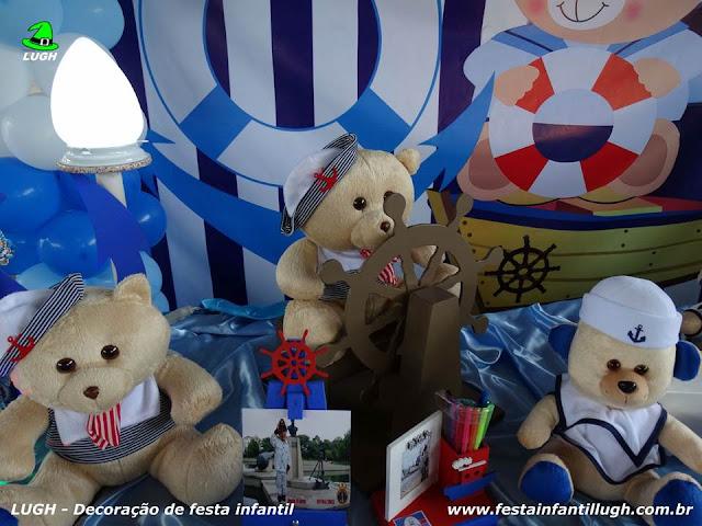 Mesa decorada Ursinho Marinheiro - Tema infantil para festa de meninos