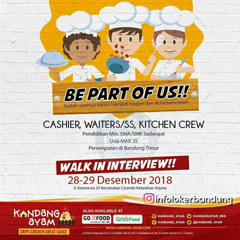 Lowongan Kerja Kandang Ayam Bandung ( Walk In Interview 28 - 29 Desember 2018)