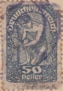 Briefmarke 50 Heller Deutschösterreich, Gestaltung: J.F. Renner.