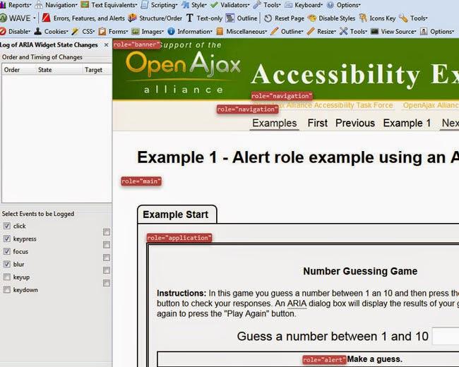 Log de estados de ARIA Widget y roles marcados en la página de la extensión  Firefox Accessibility Extension