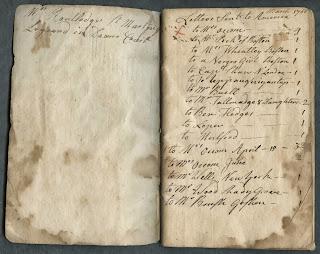 A handwritten list of letters.