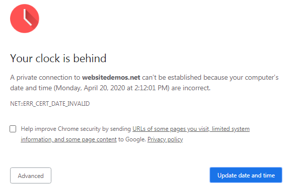 Your clock is behind error on Chrome
