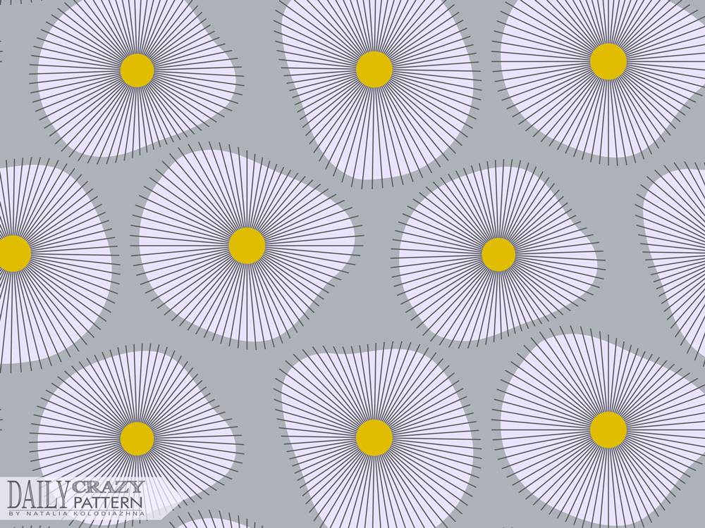 "Attractive art print with geometric flowers for ""Daily Crazy Pattern"" project"