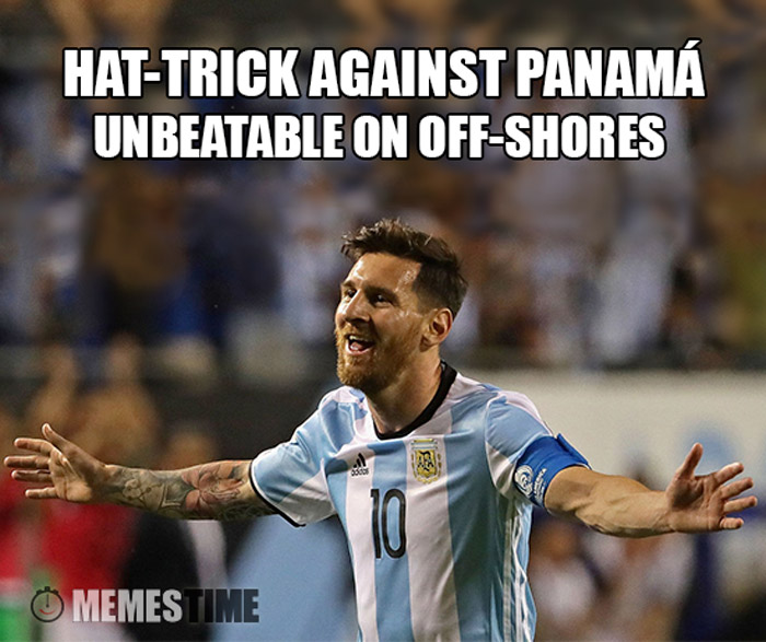 Meme  Lionel Messi – Hat-trick against Panamá Unbeatable on off-shores