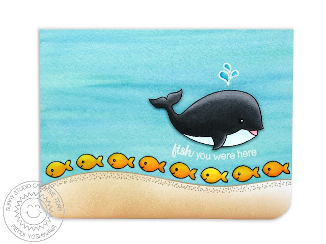 Sunny Studio Stamps Oceans of Joy Whale Fish You Were Here Card by Mendi Yoshikawa