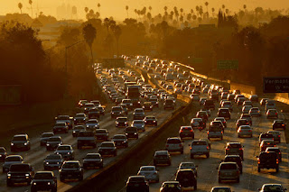 California, where car traffic is daily challenge, worked with the Obama administration to increase auto emissions standards. That agreement, and the state's waiver to set it own standards, are now in jeopardy. (Credit: Mark Ralston/AFP/Getty Images) Click to Enlarge.
