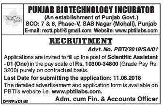 PBTI Mohali Recruitment 2018 – Scientist Jobs in Mohali