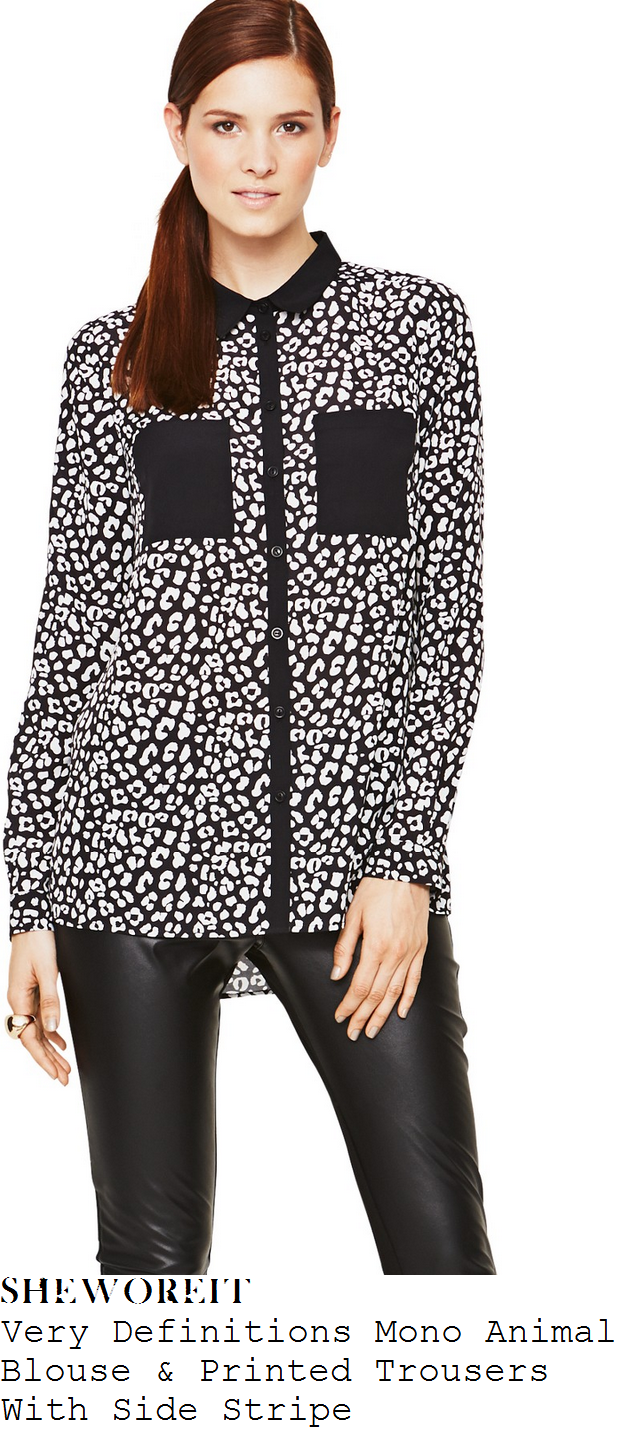 bb8f1e85e7b9c5 Laura Whitmore's Very Definitions Black & White Monochrome Leopard Print  Long Sleeve Collared Blouse With Contrast Chest Pockets & Monochrome  Geometric ...