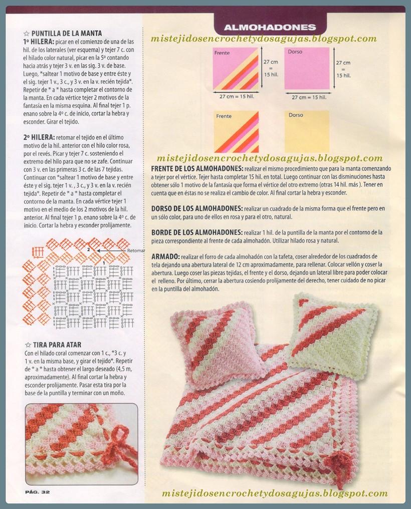 Mis tejidos en crochet y dos agujas (palitos): Manta diagonal para bebe