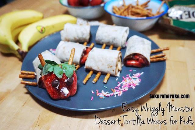 Sakura haruka singapore parenting and lifestyle blog easy easy wriggly monster dessert tortilla wraps for kids forumfinder Images