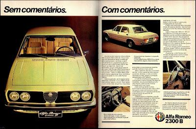 propaganda Alfa Romeo 2300 B - 1977.  propaganda anos 70. propaganda carros anos 70. reclame anos 70. Oswaldo Hernandez..
