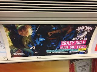 Junkyard Golf advert on the Jubilee Line. Photo by Gareth Holmes June 2017