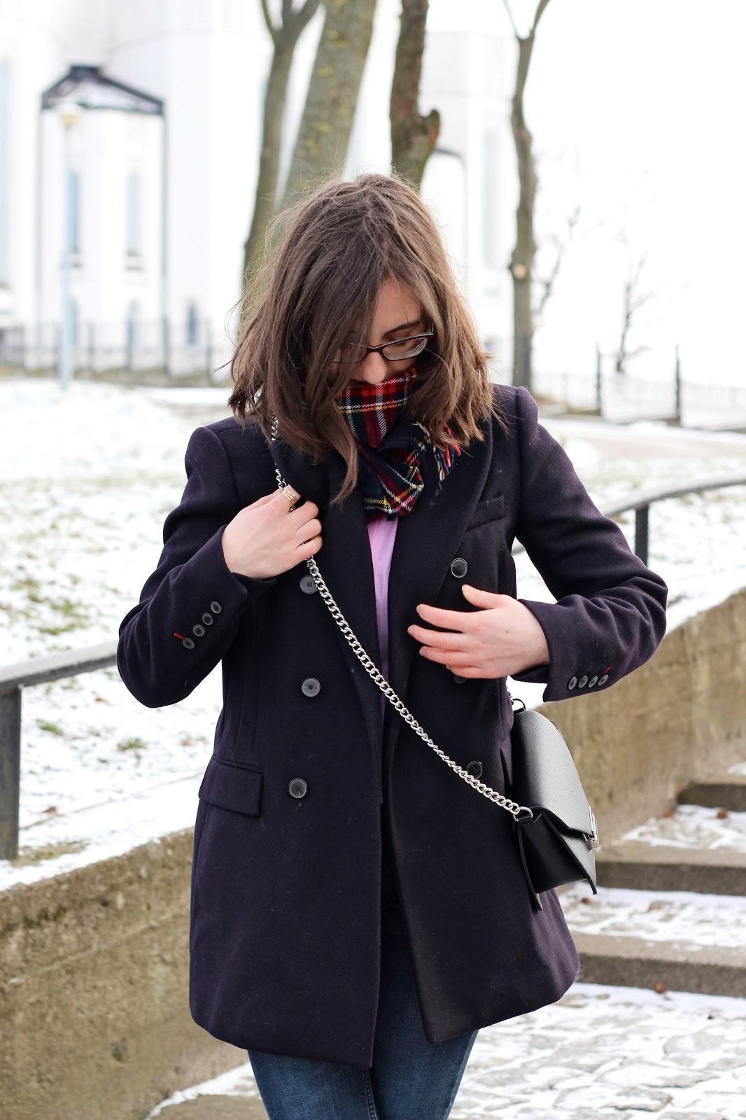 granatowy płaszcz Zara blog
