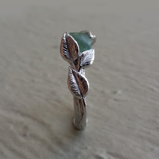 Raw Uncut Green Sapphire Engagement, Leaf and Twig Promise, Stackable gemstone rings, Wedding Bands, Dawn Vertrees