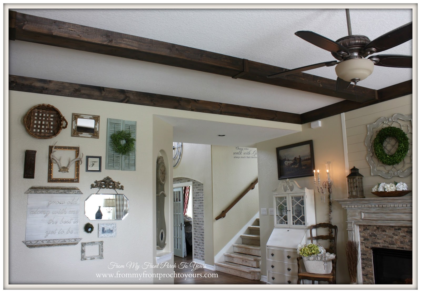 French Country Charm added with DIY Wood Beams.- From My Front Porch To Yours