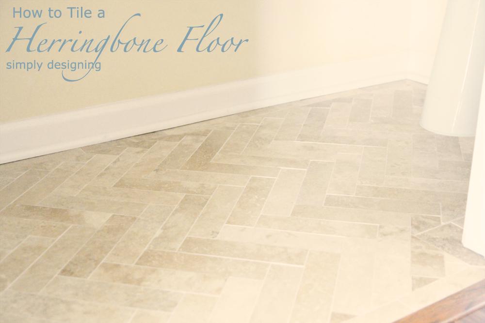 herringbone design floor tiles