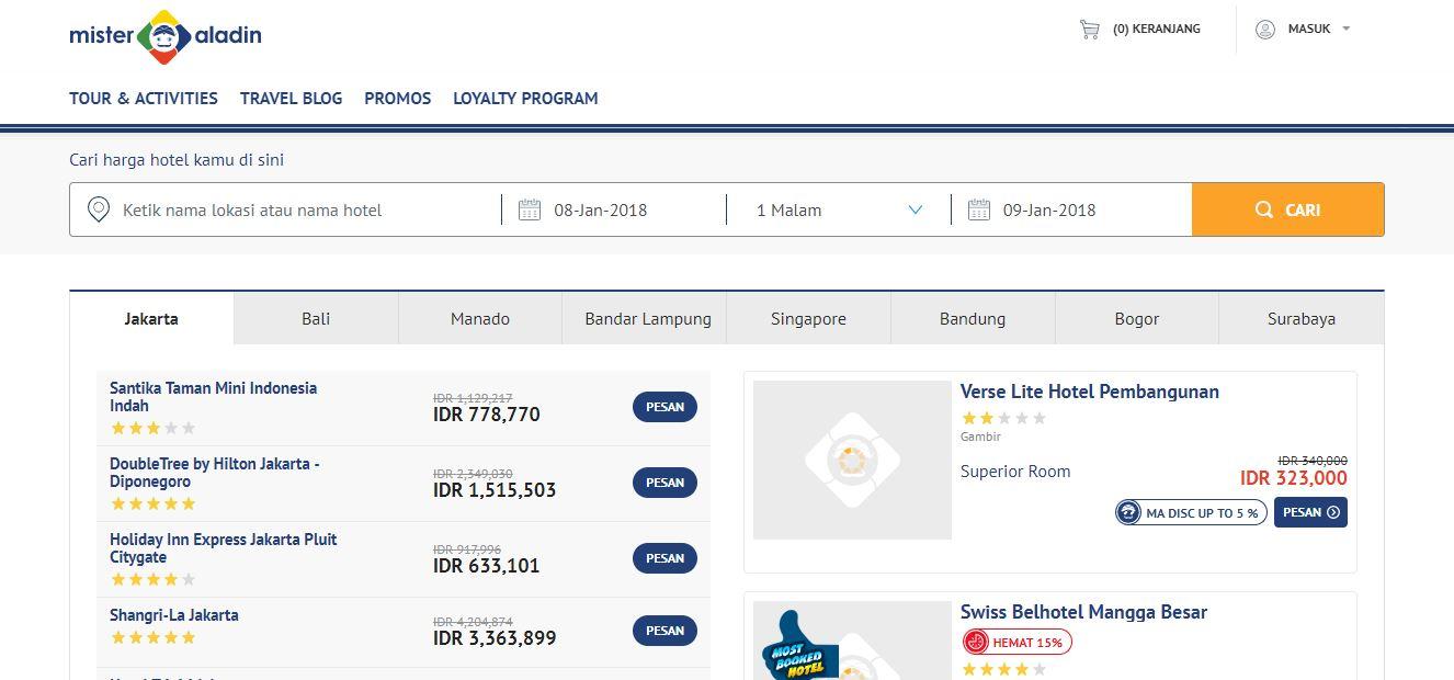 Misteraladin.com adalah situs online travel agent yang menawarkan berbagai  travel deals dan promo hotel. Seperti situs online travel agent  pendahulunya ad8fe01253